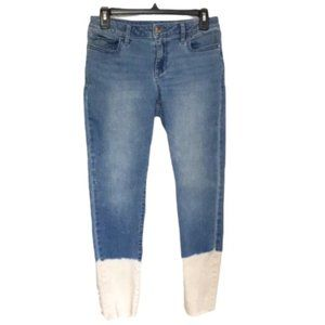 a.n.a. Straight Leg Dipped Crop Jeggings/Jeans, 10
